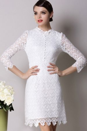 My wedding - bride to be - Single Breasted Cropped Sleeve Lace Dress - Oasap.jpg