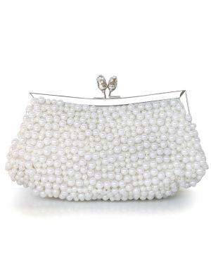 My wedding - bride to be - Unique White Beading Glitter Pearl Womens Clutch Bag.jpg
