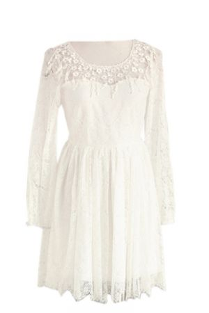 Wedding calculator - budget for a stylish wedding for less - White Lace Long Sleeves Dress.jpg