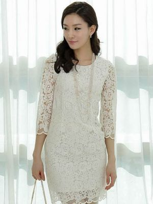 Wedding on a budget -Vintage White Long Sleeves Lace Cloth Short Dress.jpg