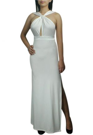 Wedding pictures - White Sexy Keyhole Criss-Cross Long Jersey Dress.jpg