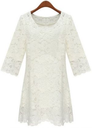 White Three Quarter Length Sleeve Overlay Embroidered Lace Dress.jpg
