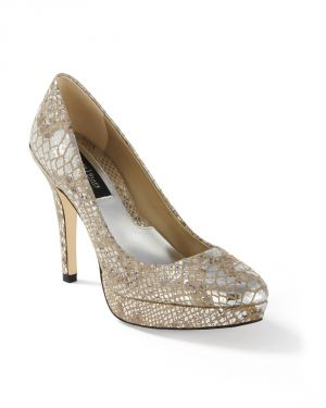 Womens Silver Metallic Snake-Print Leather Pump by White House Black.jpg