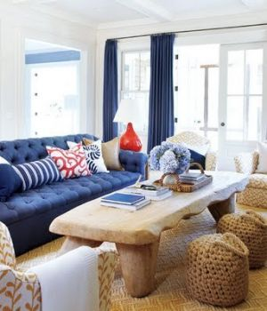 Luxury beach houses - Beach houses style - hamptons-blue-living-room.jpg
