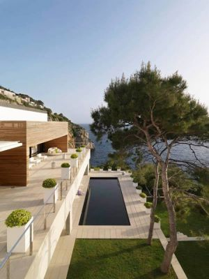 Images of modern houses in a garden setting - pool - clifftop.jpg