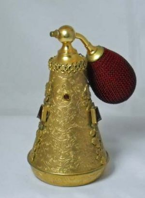 antique perfume atomizer - Gold embossed metal.jpg