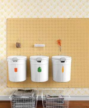 Laundry rooms and mudrooms - mylusciouslife.com - Martha Stewart recycling bins