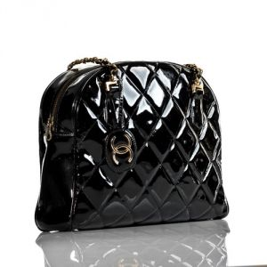Chanel Vintage black patent leather shoulder tote bag