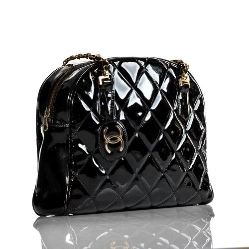 Chanel Vintage genuine authenticated Black Patent Leather Shoulder Tote Bag.jpg
