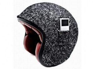 Karl Lagerfeld Tweed helmet in collaboration with Atelier Ruby with a pocket for your Ipod.jpg