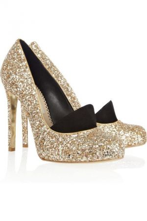 divine gold and silver bling heels with black at toe - a glamorous life luscious.jpg
