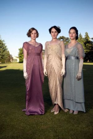 The daughters wearing period frocks in Downton Abbey.jpg
