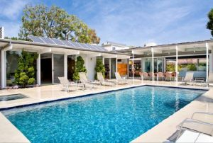 Mid Century Modern pool exterior Richard Dorman architect 1960s in Beverly Hills.JPG