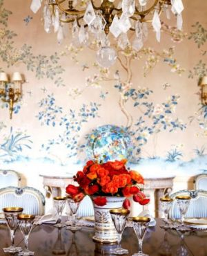 Tiffany blue chinoiserie wallpaper and chandelier.jpg