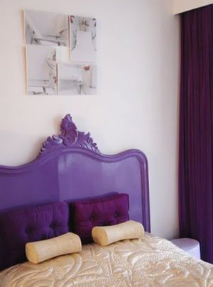 Purple mauve lilac photos - Bed with purple bedhead.jpg