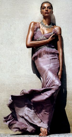 Tall model wearing purple evening dress.jpg