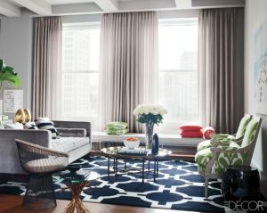 True blue colour photo gallery - Blue and White Graphic Rug via Elle Decor.jpg