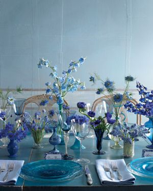 Martha Stewart - Blue centerpiece of cornflowers muscari nigella delphiniums and anemones.jpg