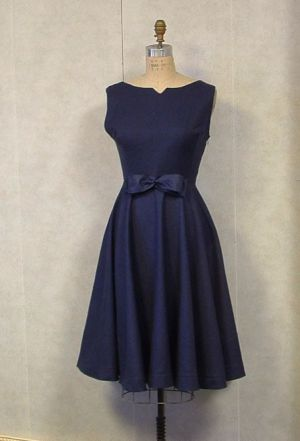 Navy circle skirt dress 1950s style HANDMADE by VintageCostumes.jpg