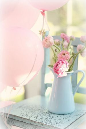 True blue colour photo gallery - Pink ranunculas in a blue jug.jpg