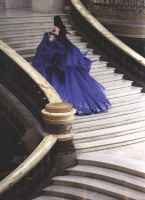 fairytale navy blue gown running up stairs.jpg