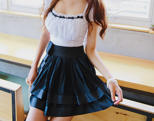 True blue colour photo gallery - girl wearing blue skirt and white blouse.png