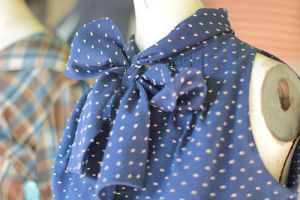 vintage blue blouse with big bow at neck.jpg