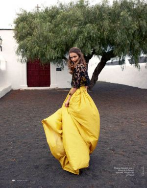 Andreea Diaconu by Asa Tallgard for Elle Russia June 2012 in yellow dress.jpg
