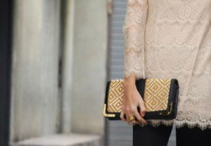 Cheery yellow - Yellow and white beaded clutch.jpg