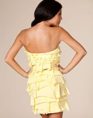 Cheery yellow - Zip Fronted Tier Dress - yellow dress ruffle.jpg