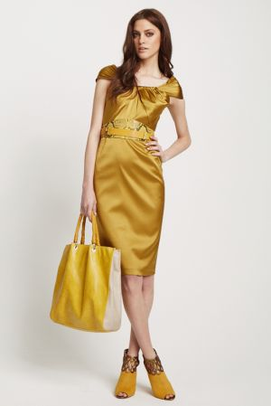 Elie Tahari Resort 2012 Lookbook yellow dress bag shoes.jpg