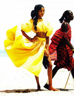 Jourdan Dunn & Karmen Pedaru by Mario Testino desert yellow.jpeg