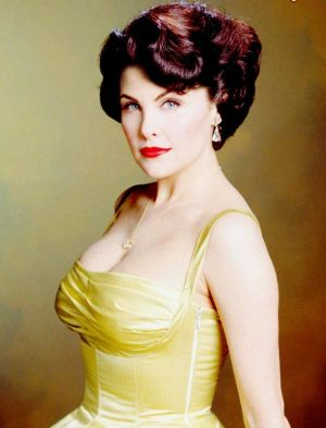 Sherilyn Fenn in 50 yellow vintage evening dress.jpg