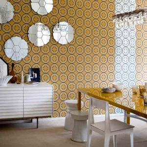 Yellow decor photos - Printed yellow wallpaper in living area.jpg