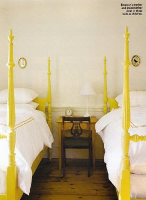 Yellow decor pictures - emersonmade white and yellow twin beds in bedroom.jpg