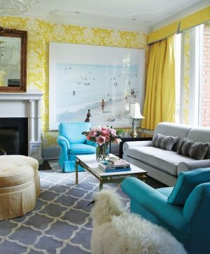 houseandhome.com - Wallpapered Rooms - Yellow walls blue furniture.jpg
