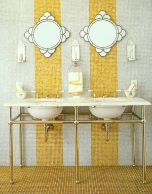 sophisticated yellow and white bathroom via moden chic home.jpg