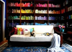 mylusciouslife.com - books arranged by colour on shelves.jpg