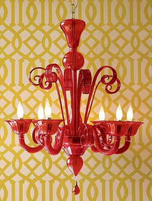 Red glass chandelier via decor8blog via mylusciouslife.jpg