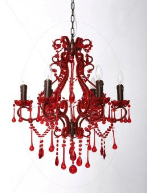 mylusciouslife.com - red glass six-light chandelier from lifeinteriors.com.au.jpg