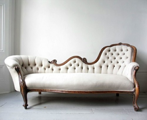 Stylish home tufted furniture for Antique chaise lounge sofa