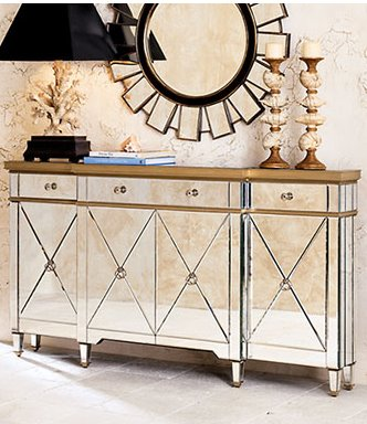 ... Get Some Old Hollywood Glamour In Your Home   Mirrored Furniture    Console And Mirror With ...