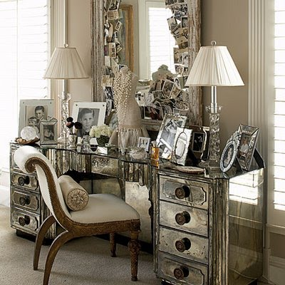 Stylish home mirrored furniture for Decor glamour