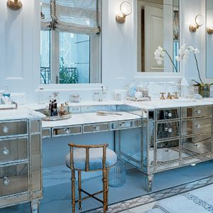 Luscious Mirrored Furniture In Bathroom