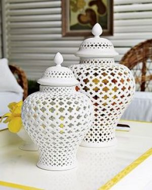 White decor - www.myLusciousLife.com - William Sonoma Home pierced ginger jars.jpg