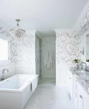 White interiors - www.myLusciousLife.com - houseandhome.com Wallpapered Rooms - bathroom.jpg