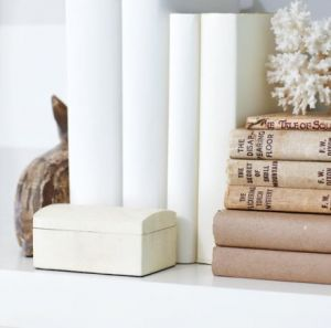White interiors - www.myLusciousLife.com via www.styleathome.com books stacked.jpg