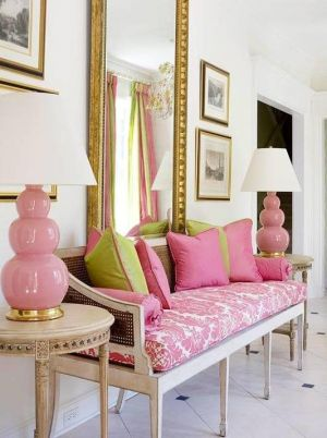 Pink interior design - myLusciousLife.com - Pink and green sofa and mirror.jpg