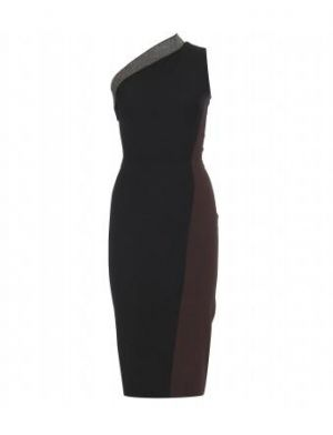Victoria Beckham - Black And Chocolate Asymmetric Dress With Tweed Detail.jpg