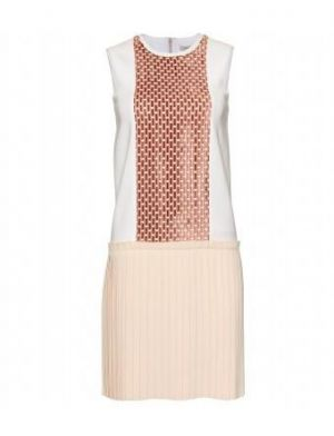 Victoria Beckham - Cream Dress With Burnout Velvet Striped Panel And A Nude Pleated Skirt.jpg